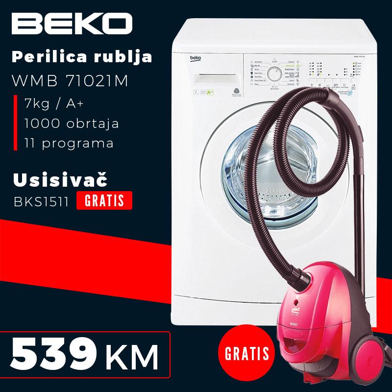 Beko - Perilica rublja WMB 71021M + Usisavać BEKO BKS1511 GRATIS