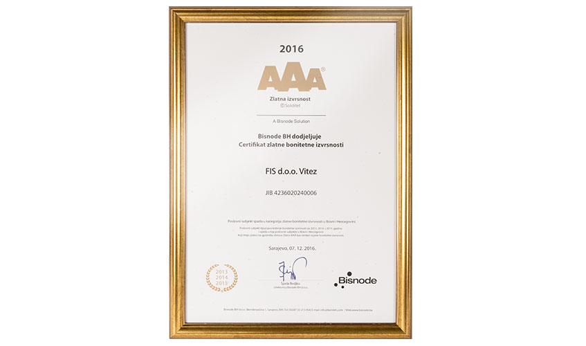 Zlatni certifikat bonitetne izvrsnosti